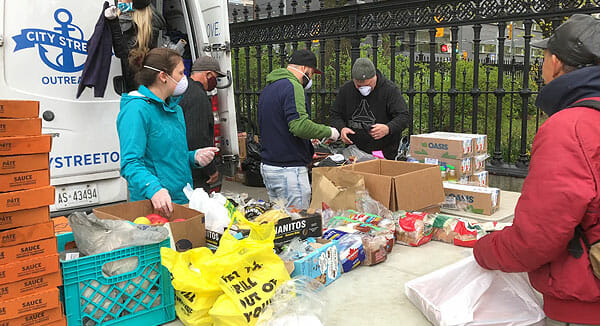Serving food to the homeless